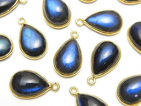 [With video] High Quality Black Labradorite AAA- Bezel Setting Pear shape 12x8mm 18KGP 3pcs $12.99!