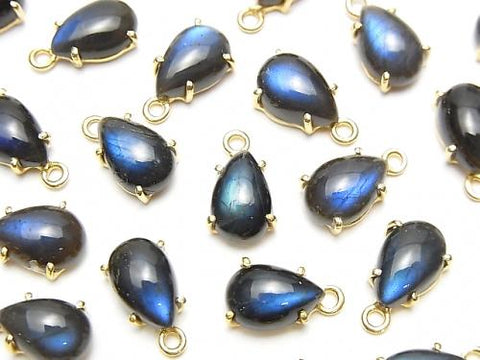 High Quality Black Labradorite AAA- Bezel Setting Pear shape 9x6mm 18KGP 3pcs $9.79!