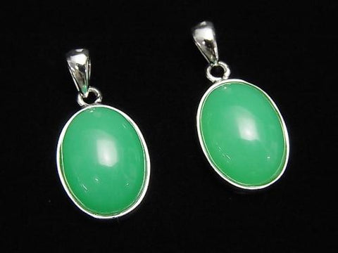Chrysoprase AAA- Oval  Pendant  Silver925  1pc $19.99!