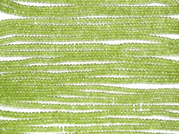 1strand 3,980! High Quality Peridot AAA- Faceted Button Roundel 1strand (aprx.7inch/17cm)