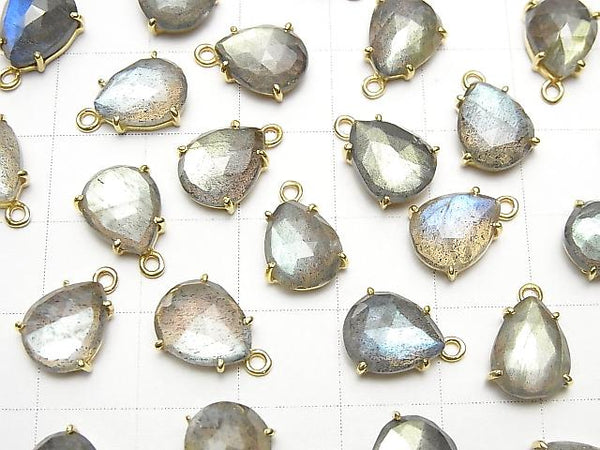 High Quality Labradorite AAA Bezel Setting Pear shape  Rose Cut  18KGP 3pcs $13.99!