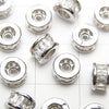 Metal Parts Roundel 6x6x3.5mm Silver with CZ 2pcs $2.99!
