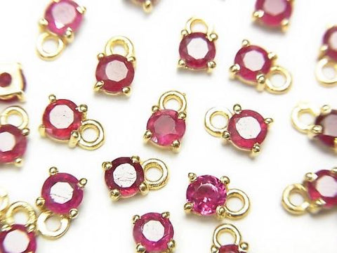 High Quality Ruby AAA- Bezel Setting Round Faceted 3.5x3.5mm 18KGP 4pcs $13.99!