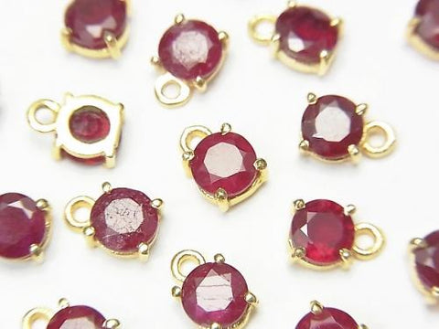 High Quality Ruby AAA Bezel Setting Round Faceted 5x5mm 18KGP 2pcs $12.99!