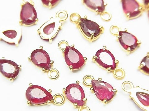 High Quality Ruby AAA- Bezel Setting Pear shape Faceted 6x4mm 18KGP 2pcs $11.79!