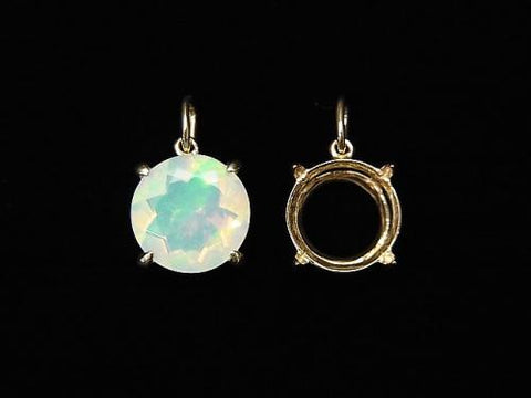 [With video] Japan! [K10 Yellow Gold] Pendant Empty Frame (Bezel) Round Faceted 8mm 1pc $39.99!