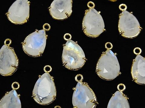 High Quality Rainbow Moon Stone AA++ Bezel Setting Pear shape Faceted 10x7mm 18KGP 2pcs $8.79!