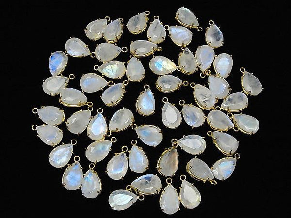 High Quality Rainbow Moon Stone AA++ Bezel Setting Pear shape Faceted 12x8mm 18KGP 2pcs $9.79!