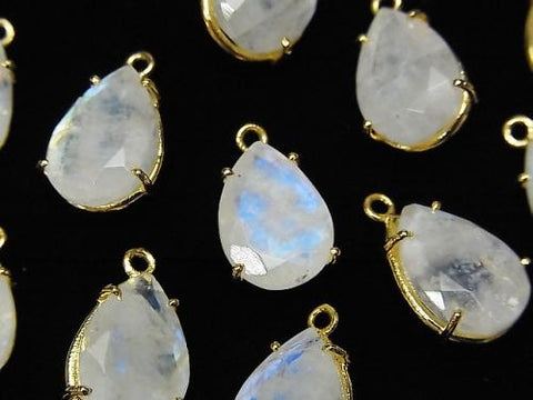 High Quality Rainbow Moon Stone AA++ Bezel Setting Pear shape Faceted 13x9mm 18KGP 1pc $5.79!