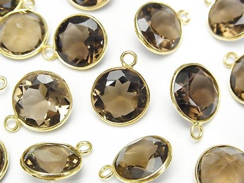 High Quality Smoky Crystal Quartz AAA Bezel Setting Round Faceted 12x12mm [One Side ] 18KGP 3pcs