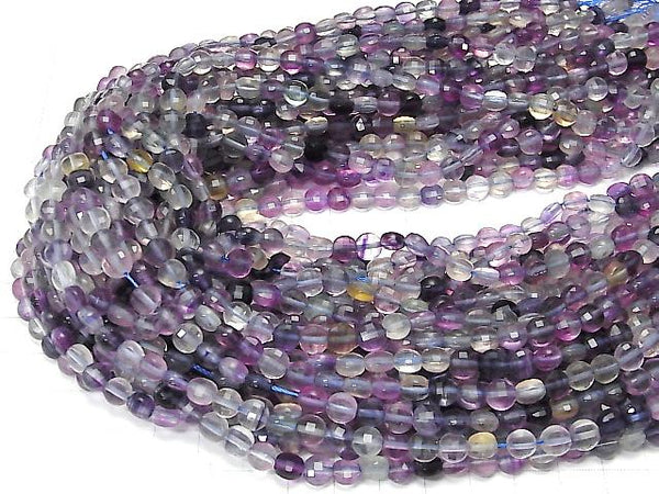 [Video] High Quality! Multicolor Fluorite AAA- Faceted Coin 6x6x4mm 1strand (aprx.15inch/36cm)