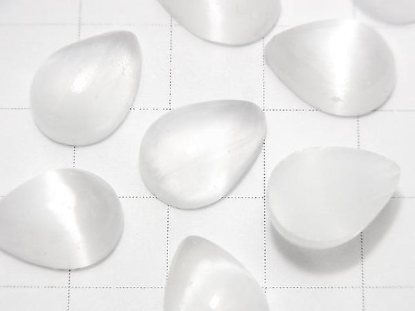 [Video] Selenite Pear shape Cabochon 14x10mm 1pc