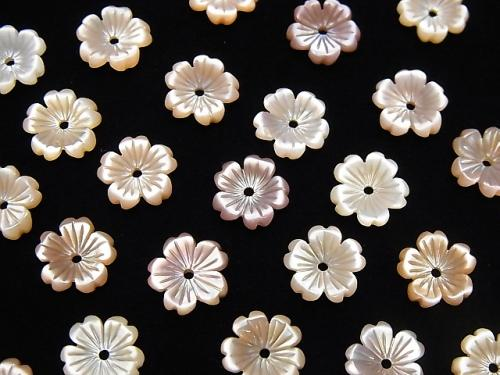 High Quality Pink Shell AAA Flower 8mm Central Hole 3pcs