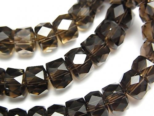 [Video] High Quality! Smoky Crystal Quartz AAA Faceted Button Roundel 8x8x5mm 1strand (Bracelet)