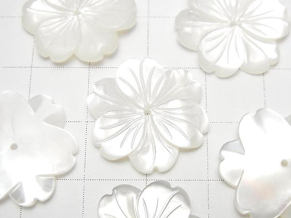 [Video] High Quality White Shell AAA Flower 20mm Center Hole 1pc