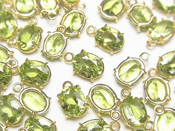 [Video] High Quality Peridot AAA Bezel Setting Oval Faceted 8x6mm 18KGP 2pcs