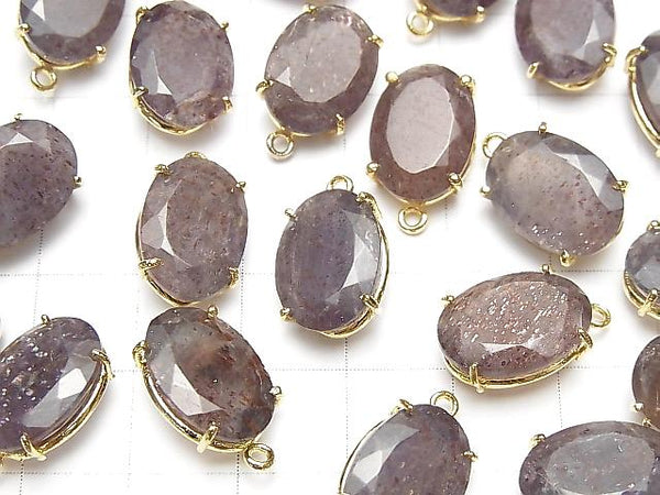 [Video] High Quality Bloodshot Iolite AAA- Bezel Setting Oval Faceted 14x10mm 18KGP 1pc