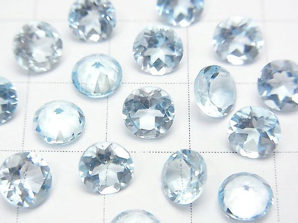 High Quality Sky Blue Topaz AAA Undrilled Round Faceted 6x6mm 5pcs