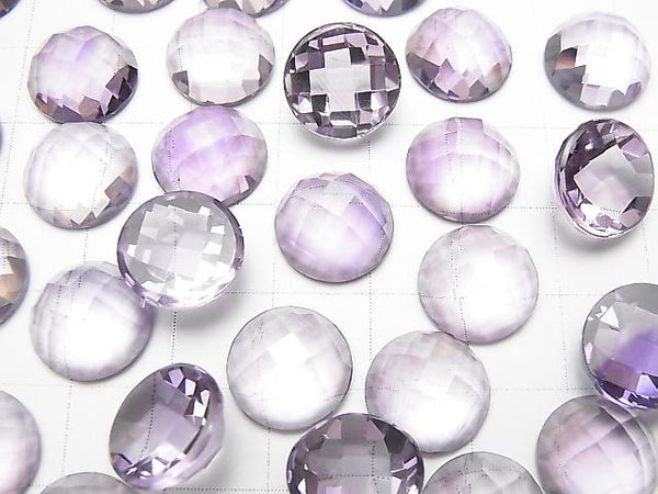 [Video] High Quality Pink Amethyst AAA Round Faceted Cabochon 12x12mm 1pc
