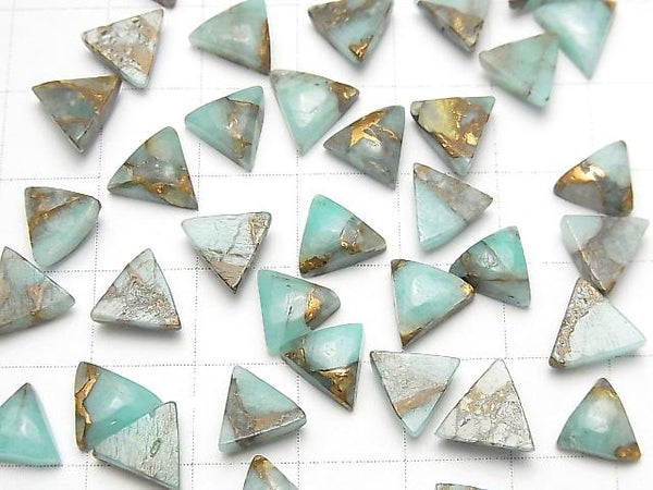 [Video] Copper Amazonite AAA Triangle Cabochon 8x8mm 5pcs