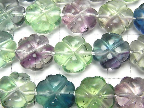 [Video] Multicolor Fluorite AAA Clover 15x15x8mm half or 1strand (aprx.15inch / 36cm)