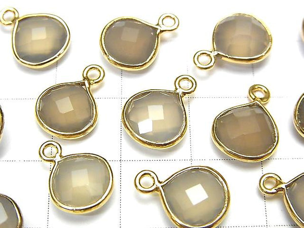 [Video] High Quality Gray Onyx AAA Bezel Setting Chestnut Shape 9x9mm 18KGP 4pcs