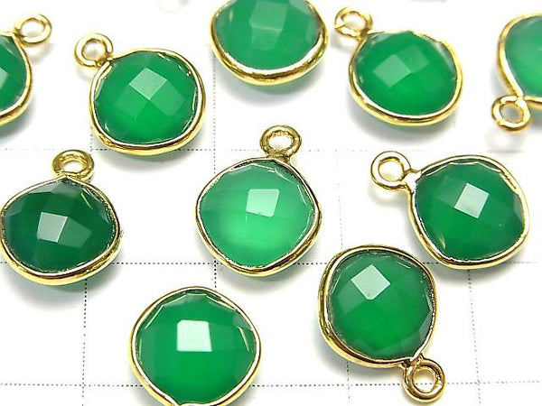 [Video] High Quality Green Onyx AAA Bezel Setting Diamond Shape 9x9mm Cushion Cut 18KGP 3pcs
