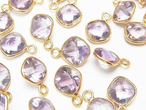 [Video] High Quality Pink Amethyst AAA- Bezel Setting Diamond Shape Faceted 8x8mm 18KGP 4pcs