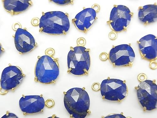 [Video] Lapis lazuli AA++ Bezel Setting Freeform Rose Cut 18KGP 3pcs