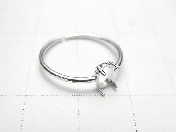 [Video] Silver925 Ring Empty Frame (Claw Clasp) Oval 6x4mm Rhodium Plated Free Size 1pc