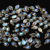 [Video] Made in Japan! High Quality Rainbow Moonstone AAA Oval Charm 6x5mm [K14 Yellow Gold] 4pcs