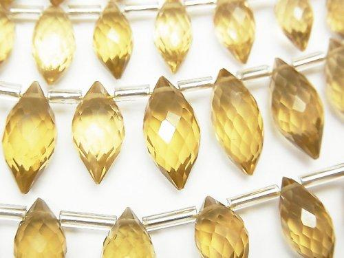 [Video] High Quality Beer Crystal Quartz AAA Marquise Rice Faceted Briolette half or 1strand (aprx.5inch / 13cm)