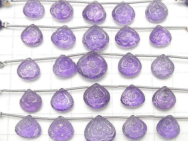 [Video] High Quality Amethyst AAA Carving Chestnut 1strand (5pcs)