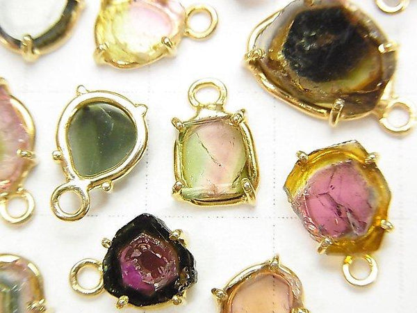 [Video] High Quality Multicolor Tourmaline AAA- Bezel Setting Slice Nugget 18KGP 3pcs