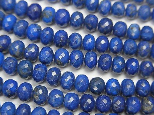 [Video] MicroCut High Quality Lapislazuli AAA Faceted Button Roundel 1/4 or strand (aprx.15inch / 38cm)