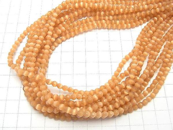 1strand $1.79! Brown Color Cat's Eye 32Faceted Round 4mm 1strand (aprx.14inch/34cm) - wholesale gemstone beads, gemstones - kenkengems.com