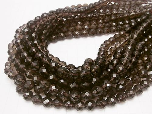 Smoky Crystal Quartz AAA 64Faceted Round 8mm half or 1strand (aprx.15inch/38cm) - wholesale gemstone beads, gemstones - kenkengems.com