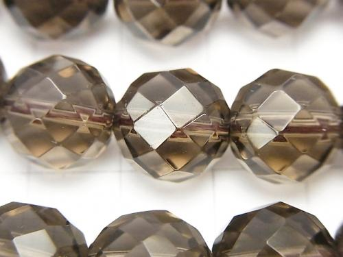Smoky Crystal Quartz AAA 64Faceted Round 12mm 1/4 or 1strand (aprx.15inch/38cm) - wholesale gemstone beads, gemstones - kenkengems.com