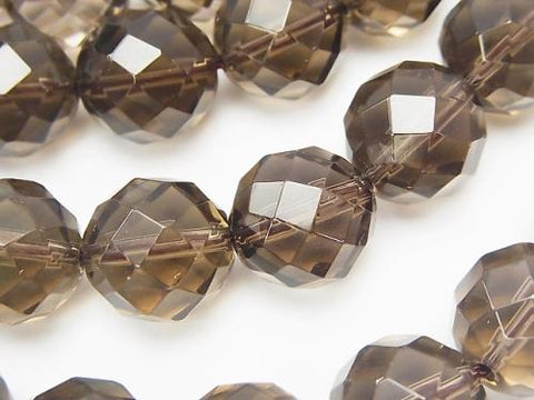Smoky Crystal Quartz AAA 64Faceted Round 14mm half or 1strand (aprx.15inch/37cm)
