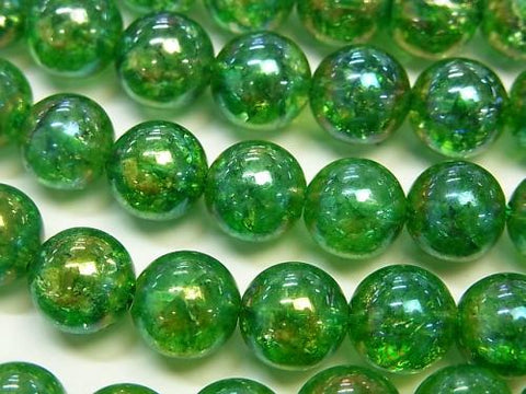 Flash Green Color Cracked Crystal Round 4mm, 6mm, 8mm, 10mm, 12mm 1strand