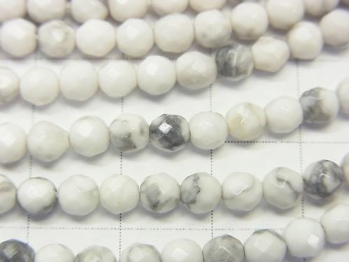 1strand $5.79! Howlite Magnesite  32Faceted Round 4mm 1strand (aprx.15inch/36cm)