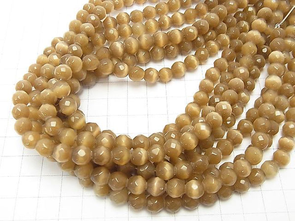 1strand $3.79! Light Brown Color Cat's Eye (Glass) 32 Faceted Round 8 mm 1strand (aprx.14 inch / 34 cm)