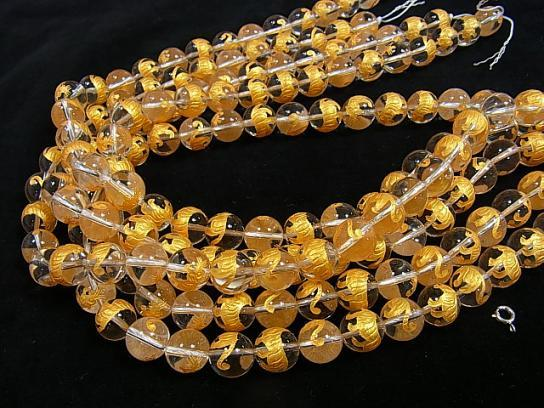 Golden! Tiger (Four Divine Beasts) Carving! Crystal AAA Round 10 mm, 12 mm, 14 mm 1/4 or 1strand