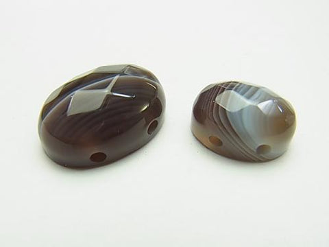 Botswana Agate [two holes] Oval Faceted Cabochon [14 x 10] [18 x 13] 2 pcs $2.79
