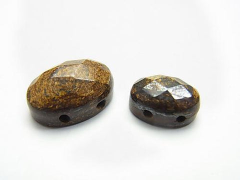 Bronzite [two holes] Faceted Cabochon [14 x 10] [18 x 13] 2 pcs $2.79