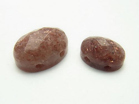 Moscovite [two holes] Faceted Cabochon [14 x 10] [18 x 13] 2 pcs $2.79