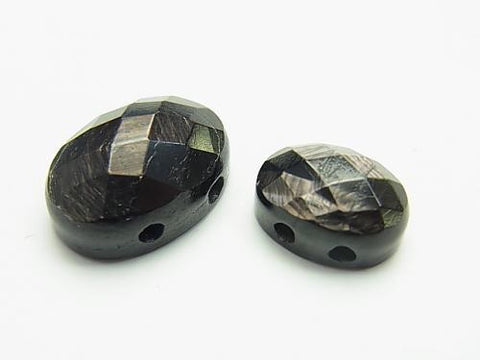 Hypersthene [two holes] Faceted Cabochon [14 x 10] [18 x 13] 2 pcs $3.79