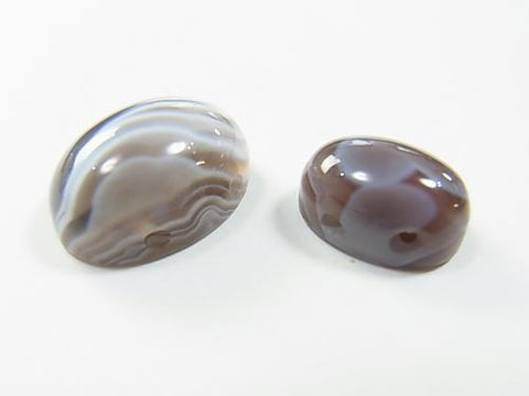 2pcs $2.39Botswana Agate [Two holes] Oval Cabochon [14x10] [18x13] 2pcs