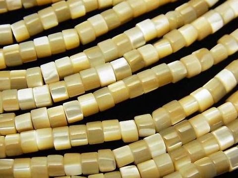 1strand $3.79! Mother of Pearl MOP Tube 4x4x2mm Beige 1strand (aprx.15inch / 38cm)