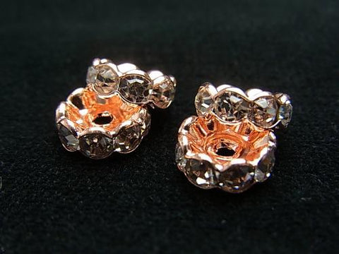 Sale! Preciosa Roundel [Clear x Rose] Flower Shape 4-10mm 10pcs